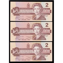 Bank of Canada $2, 1986 - Lot of 3 Consecutive Serial Numbers