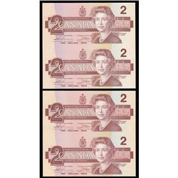 Bank of Canada $2, 1986 Replacement Notes - Lot of 2 Uncut Pairs