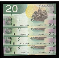 Bank of Canada $20, 2007 - Lot of 4 Consecutive