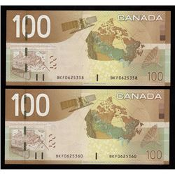 Bank of Canada $100, 2004 - Lot of 2