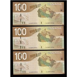 Bank of Canada $100, 2004 - Lot of 3 Consecutive