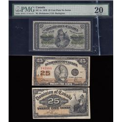 1870 - 1900 - 1923 Dominion of Canada Shinplaster Set