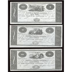 Bank of Upper Canada 1820, $1, $2 & $3 Reproduction Set