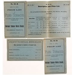1892 Price Lists for Plug Tobacco, Louisville, Kentucky