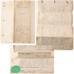 Virginia City, Nevada Surety Bond Signed by Prominent Merchants, 1888