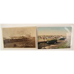 Two Rare Postcards of Milford, Utah with Trains