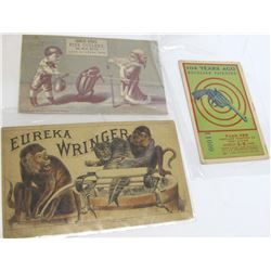 Three Advertising cards: revolver, knife and cutlery