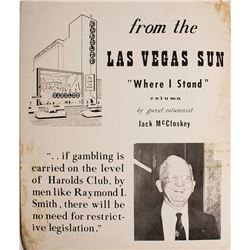 Large Cardboard Broadside Ad for Jack McCloskey talking about Harold's Club