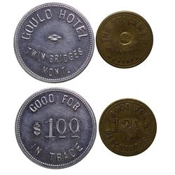Two Madison County Tokens from Sheridan and Twin Bridges