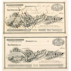 Claremont, University and Ferries Street Railroad Co. Stock Certificates