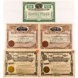 Grab bag of Five Arizona Mining Stock Certificates