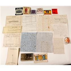 U.S. Ephemera Grab Bag (Railroad, Labels, Manuscript Documents, Etc.)