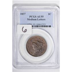 1837 1C Large Cent, Medium Letters