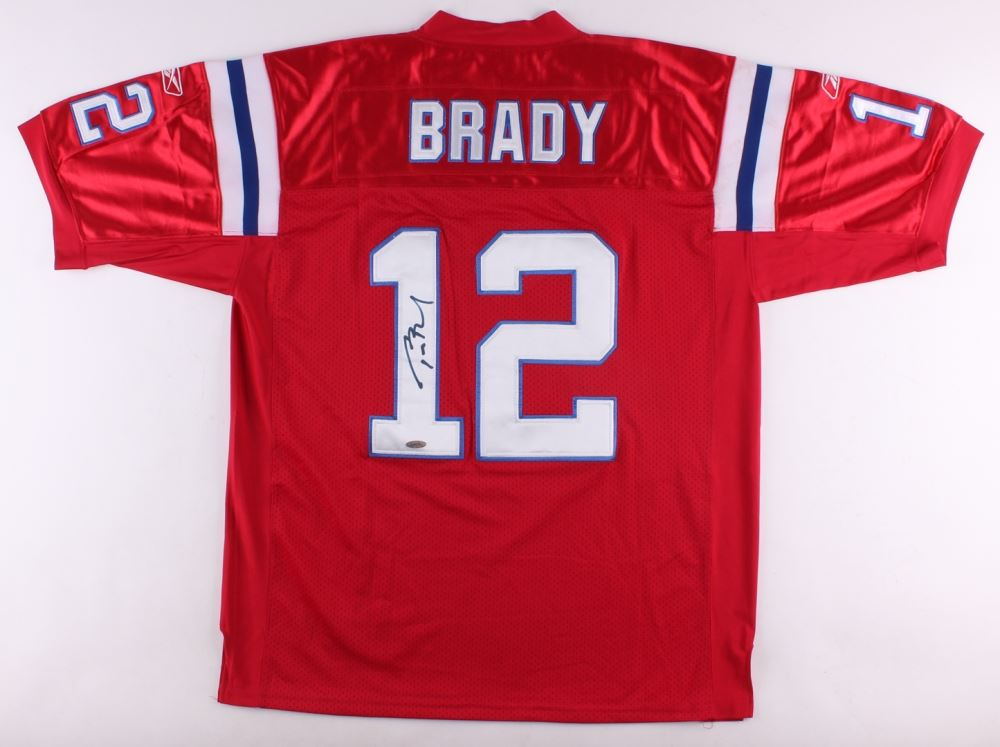 65f248341 Image 1   Tom Brady Signed Throwback Patriots Reebok Authentic On-Field  Game Jersey (