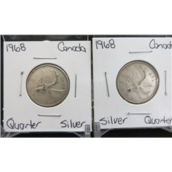 Lot Of 2 Canadian Silver Quarters From 1968