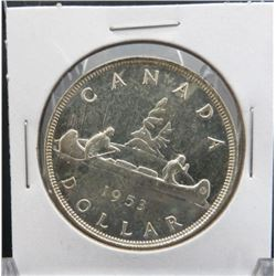 1953 Canadian Silver $1 Dollar Coin