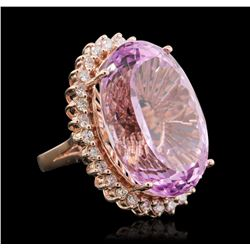 14KT Rose Gold 45.02 ctw GIA Certified Kunzite and Diamond Ring