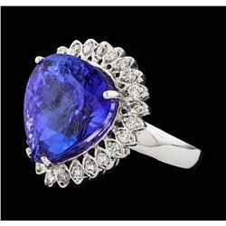 GIA Cert 13.48 ctw Tanzanite and Diamond Ring - 14KT White Gold
