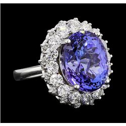 GIA Cert 12.06 ctw Tanzanite and Diamond Ring - 14KT White Gold