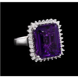 13.48 ctw Amethyst and Diamond Ring - 14KT White Gold