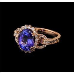 3.59 ctw Tanzanite and Diamond Ring - 14KT Rose Gold