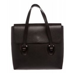 Gucci Black Leather Flap Tote Handbag