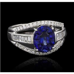1.10 ctw Blue Sapphire and Diamond Ring - 18KT White Gold