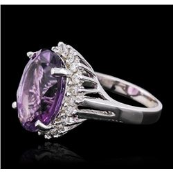14KT White Gold 7.81 ctw Amethyst and Diamond Ring