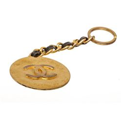 Chanel Gold Tone Medallion CC Black Leather Chain Keychain Keyring