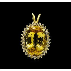 6.31 ctw Topaz and Diamond Pendant - 14KT Yellow Gold