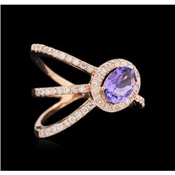 0.72 ctw Tanzanite and Diamond Ring - 14KT Rose Gold