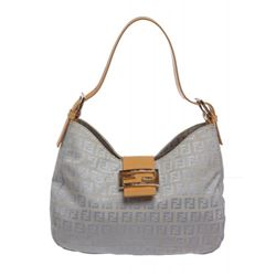 Fendi Blue Zucca Canvas Tan Leather Trim Shoulder Handbag
