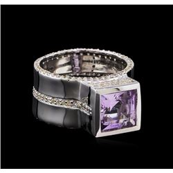 Crayola 3.50 ctw Pink Amethyst and White Sapphire Ring - .925 Silver