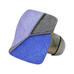 Tri Color Hand Painted Square Ring - Rhodium Plated
