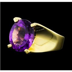 4.00 ctw Amethyst Ring - 14KT Yellow Gold