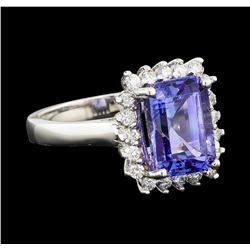 4.82 ctw Tanzanite and Diamond Ring - 14KT White Gold