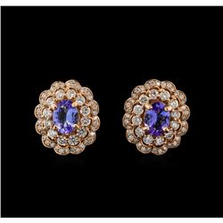 14KT Rose Gold 2.64 ctw Tanzanite and Diamond Earrings