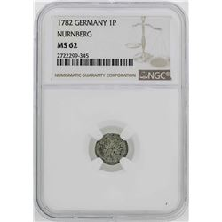 1782 Germany Nurnberg Pfennig Coin NGC MS62