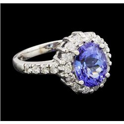 2.69 ctw Tanzanite and Diamond Ring - 14KT White Gold