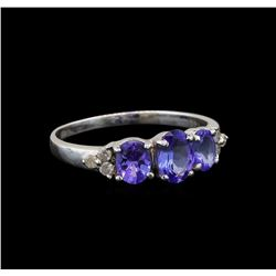 14KT White Gold 1.33 ctw Tanzanite and Diamond Ring