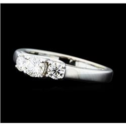 0.50 ctw Diamond Three Stone Ring - 14KT White Gold