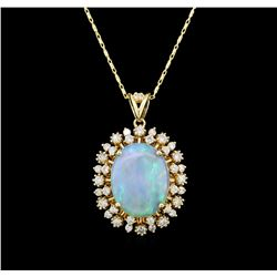 14KT Yellow Gold 5.88 ctw Opal and Diamond Pendant With Chain