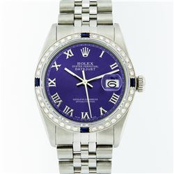 Rolex Stainless Steel Purple Roman Diamond and Sapphire DateJust Men's Watch