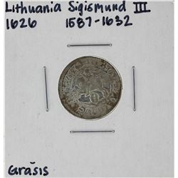1626 Lithuania Sigismund III Grasus Silver Coin