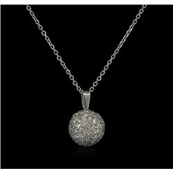 1.40 ctw Diamond Pendant With Chain - 14KT White Gold