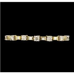 5.40 ctw Diamond Bracelet - 14KT Yellow And White Gold