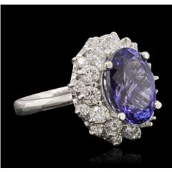 14KT White Gold 5.21 ctw Tanzanite and Diamond Ring