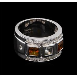 0.54 ctw Citrine and White Sapphire Ring - .925 Silver