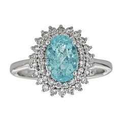 2.16 ctw Paraiba Tourmaline and Diamond Ring - 18KT White Gold