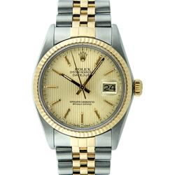 Rolex Two-Tone Gold Champagne Tapestry and Fluted Bezel DateJust Men's Watch